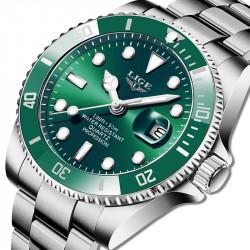 Стилен водоустойчив мъжки часовник с открояващ се дизайн, фосфорициращи часове и стрелки и метална каишка тип пеперуда в 7 различни цвята