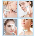 Фотонен масажор против бръчки за врат и лице с три различни LED светлини за премахване на двойна гуша и стягане на отпусната кожа в областта шията.
