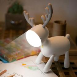 Уникална дизайнерска нощна лампа еленче, безжична лампа със зареждаща се батерия във формата на елен с рога 3 степени на яркост
