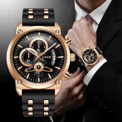 Масивен спортен мъжки часовник хронограф с изключителен дизайн от розово злато и дебела мека силиконова каишка