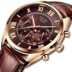 Стилен  кафяв мъжки часовник с изчистен ретро дизайн и кожена какишка, кварцово задвижване и качество на изработката