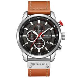 Красив мъжки часовник хронограф с контрастни цветове и кожена каишка с избор от 6 различни цветови комбинации