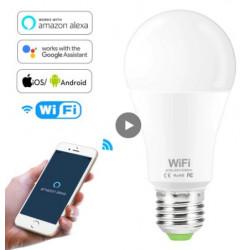 Енергоспестяваща WI-FI смарт крушка, свързвате към приложение и контролирате силата на светлина в проценти от 1% до 100% от телефон или с гласови команди чрез Алекса