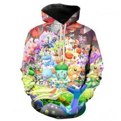 Пълноцветно принтиран суичър Pokemon, изцяло напечатан зелен, жълт, цветен суичър с Пикачу и компания с размери за деца и за възръстни
