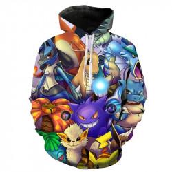 Цялостно принтиран пълноцветен суичър Pikachu, блуза с качулка със симпатичните герои от филма Pokemon блузи за деца, мъже и жени