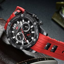 Стилен мъжки часовник хронограф със силиконова каишка, масивен и много ефектен вид в 6 различни разцветки, водоустойчив