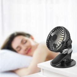 Мини портативен вентилатор с щипка и стойка за бюро и нагласяне на 360 градуса работи с USB кабел или чрез зарядна батерия безжично