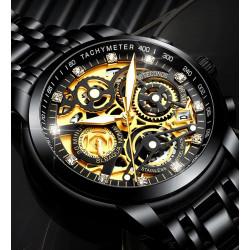 Ефектен бизнес мъжки часовник в златен, черен, сребърен и хромиран цвят, водоустойчив със светещи в тъмното стрелки