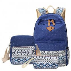 Комплекта раница, чантичка за рамо и несисер подходящи за училище и ежедневието за тинейджъри и ученици с цветен ретро принт