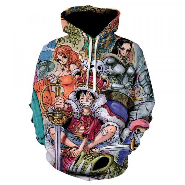 Цветен суичър блуза с качулка изцяло принтиран с гериоите от манга книгата и аниме филма One Piece Pirate Warriors