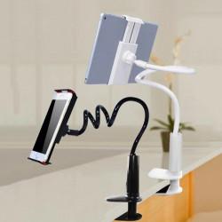 Стабилна универсална стойка държач за таблет или телефон мързелива поставка с щипка и скоба за мобилни устройства таблети и телефони и въртене на 360 градуса