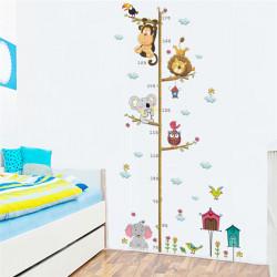 Самозалепващ метър за врата или стена с сладки животни слонче, коала, лъвче, маймунка и сова, от 70см до 170см