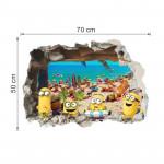 3D самозалепващ стикер за стена наподобяващ истинска дупка в разбита стена от която излизат миньоните minions