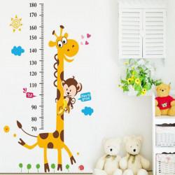 Цветен стикер за стена Жираф за измерване ръста на деца, метър за дете, за лесна и забавна проверка на височината на детето