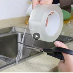Самозалепваща двуслойна силиконова лента изработена от много здраво залепващ нано матерял който позволява измиване и многократна употреба 30мм ширина
