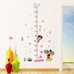 Самозалепващ цветен стикер с Mики Mаус и Mини Mаус - Mickey Mouse за измерване на височината на детето, залепете стикера на стената, гардероба или хладилника и лесно проверявайте ръста на вашето дете