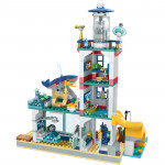Конструктор с 698 елемента спасителен център за делфини, делфинариум тип лего, сграда на 3 етажа, делфин, джет, островчета и 2 човечета