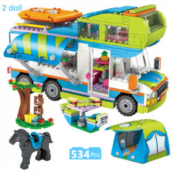 Детски конструктор кемпер каравана с палатка, маса и легла в кемпера, който може да се отваря, комплект с 534 части и 2 човечета