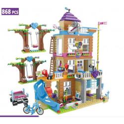 Страхотен конструктор тип лего, парти къща на приятелсвото на три етажа и пързалка, комплект с 868 части и 3 човечета, без кутия