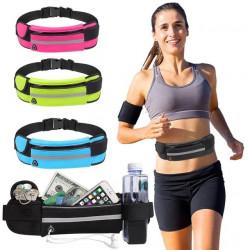 Компактна спортна чанта с колан за кръста водоустойчива за мъже и жени с нисък профил за повече движение без подмятане , джоб за бягане с регулируем колан със светлоотразителна лента