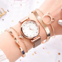 Дамски часовник комплект от 5 части с 4 гривни, мека метална плетена верижка с магнитно закопчаване и избор от 7 цвята