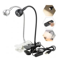 Портативна настолна мини ЛЕД LED лампа за четене или работа, подходяща за ученици, деца, четене, с 1м USB кабел и удобна щипка за захващане