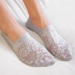 Комплект от 5 чифта невидими къси дамски чорапи тип терлици изработени от полиестер с флорална бродерия на цветя страхотни за лятото с избор от 7 пастелни цвята