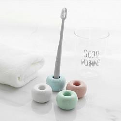 Порцеланова хигиенична стойка за четка за зъби държачка за четки във формата на поничка в 6 бонбонени цвята