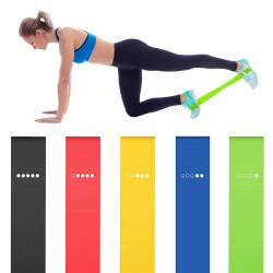 Комплект от 5 броя гумени латексови ластици за разтягане и различни видове фитнес и йога тренировка или домашна употреба, 5 различни твърдости и степени на натоварване