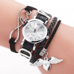 Дамски часовник кожена гривна с метлен надпис LOVE и висулка сърце талисман и избор от 6 цвята