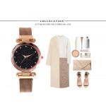 Блестящ дамски часовник с циферблат наподобяващ звездно небе и метална плетена каишка с магнитно закопчаване избор от 6 цвята