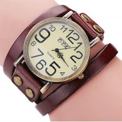 Стилен дамски часовник с ретро дизайн с дълга кожена каишка гривна и лесно закопчаване с тик так копчета и избор от 8 цвята