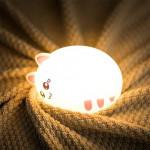 Малка безжична силиконова мека нощна лампа във формата на симпатично котенце със 7 сменящи се цвята