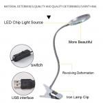 Сгъваема работна настолна лампа с 8 кратно увеличително стъкло по средата, щипка за захващане и USB кабел лампа за салони за маникюр, лампа за гоблени, лампа за работен плот и четене