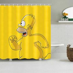 Завеса за баня с цветен принт на Bart Simpson от анимационния филм Семейство Симпсън, страхотен жълт цвят с избор от 7 размера