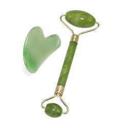 2 В 1 Нефритен зелен ролер за Гуа-Ша масаж въртящ се камък за масаж на лицето, шията и брадичката.