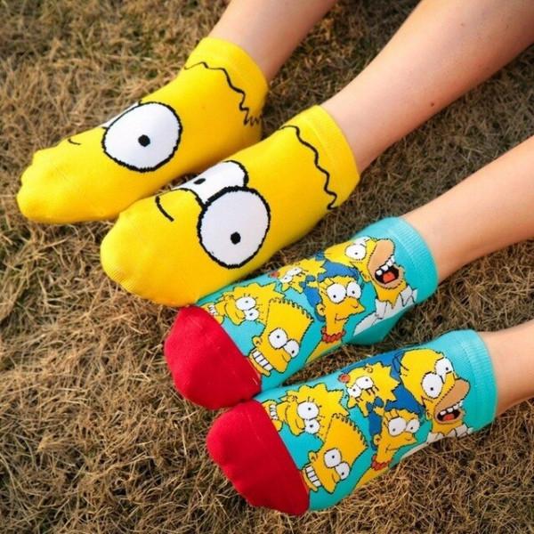 Къси памучни чорапи с цветен принт с героите от анимационнния филм The Simpsons