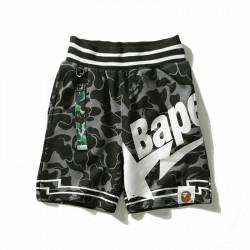 Къси памучни панталони BAPE с черно бял принт A BATHING APE с 3 джоба