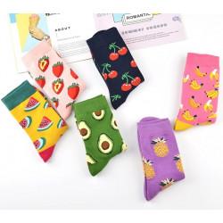 Памучни чорапи  с цветни принтове на плодове и храна, чорап с авокадо, ананас, банан, ягоди, диня, череши