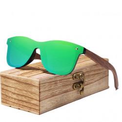 Слънчеви очила с поляризирани стъкла, с дървени дръжки и дървена кутийка с цветни огледални стъкла