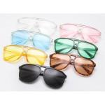 Ретро слънчеви очила унисекс с полу прозрачни стъкла в 7 различни цвятя и голям размер на рамката