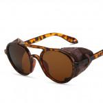 Слънчеви унисекс очила в стил стиим пънк със кожени страни против отблясъци, стилен и оригинален дизайн в 7 цвята