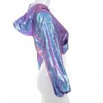 Дамски кроп топ с качулка в ултра виолетов сменящи се цветове и горнище с  нюанси според светлината