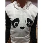 Симпатична блуза с качулка панда, горнище стил хараджуку, пимпони наподобяващи уши на панда