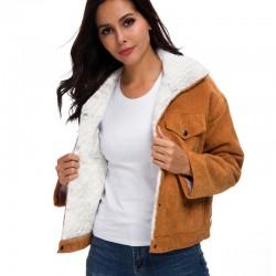 Късо джинсово яке с мека и пухкава подплата имитация на овча вълна, бомбър яке с джобове за есенно-зимно с избор от 4 цвята