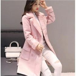 Дълго дамско велурено зимно яке имитация на овча кожа, дебело и топло палто за есента и зимата със стилен дизайн