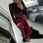 Секси екипче комплект горнище и долнище от меко кадифе панталон и блуза в 6 различни цвята