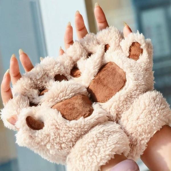 Пухкави плюшени ръкавици без пръсти във формат на котешка лапичка или лапа на мече, меки и топли за зимата