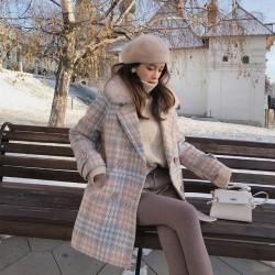 Стилно дамско карирано палто с пухче на яката, подходящо за есен и зима, яке с каре за офиса или навън