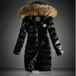Дамско зимно яке Монклер с пухче на качулката Moncler с еластичен колан и дължина над коленете